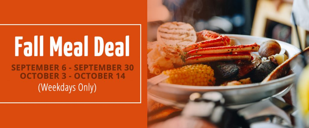 Fall Meal Deal Details with frying pan of seafood